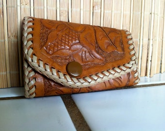 "Vintage 70's ""KEY CASE""  Amber Rich Caramel Color Leather  Hand Tooled"