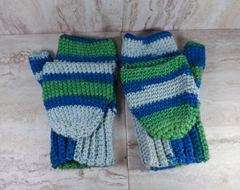 Blue and Green Convertible Mitts, Crochet Flip-Top Mittens, Convertible Gloves, Texting Mitts, Fingerless Gloves, Texting Gloves, Fold Down