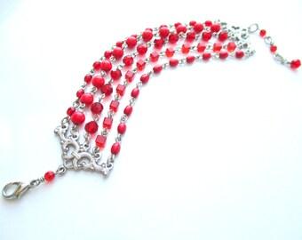 Red Crystal Bracelet, Multi strand bracelet , OOAK Bracelet, Red Chain Link Bracelet, Red Beaded Bracelet, Red Multistrand bracelet, ON SALE