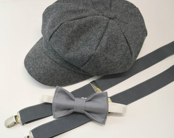 Bow Tie Suspenders Newsboy Cap Hat  / Medium Gray Bow Tie / Charcoal Gray Suspenders / Kids Baby Page Boy Outfit Set / Newborn   - 10 Years
