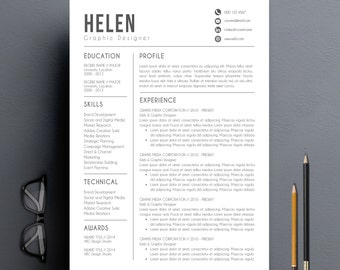 Modern Resume Template | Cover Letter + Reference Letter For Word | DIY  Printable | Professional