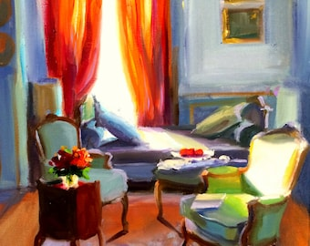 Art Print of ORANJE GORDYNE, French interior, orange and brown, beautiful sitting room,gift for mom,gift for her,Christmas gift