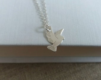 Silver Dove Necklace. Sterling Silver Bird Necklace. Bird Charm. Small Bird Pendant.  Everyday Necklace. Silver Dove Charm.