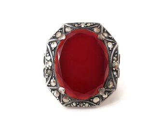 Art Deco Sterling Germany Carnelian Ring - Marcasite Stones, German Jewelry, Red Gemstone, Art Deco Jewelry, Vintage Ring, Size 5.25