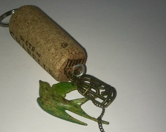 Green Patina Bird Key chain
