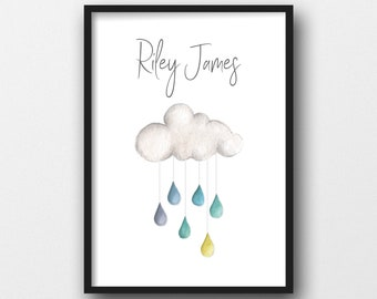 Personalised Cloud Print - A4 Watercolour Nursery Art