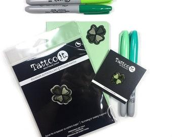 Les enseignants cadeau - Patch autocollant + broche émail (lot de 2) - Lucky Clover - personnaliser vos livres, agenda, sac d'école - cadeau plus cool!