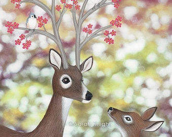 white tailed deer, tufted titmice, & cherry blossoms, signed art print 8X10 inches by Sarah Knight, birds flowers nature spring themed