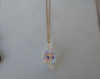 Crystal Cube Necklace in 14k Gold Fill