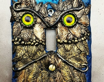 Whooo? Me? Owl Switchplate cover polymer clay handsculpted