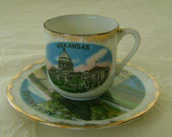 Vintage Souvenir Miniature Porcelain Cup and Saucer, Arkansas, Made in Japan