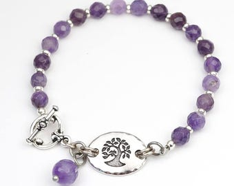 Amethyst tree bracelet, purple semiprecious stone beads, silver, 7 3/4 inches long
