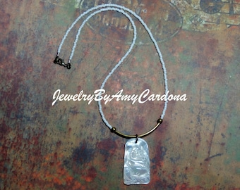 Delicate Tube Necklace with MOP Buddha Pendant