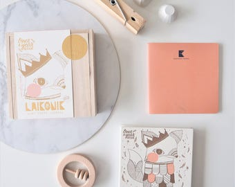 SALE! Baby book, Journal Album, BLUSH Fox - Memory book, Journal + First Words notebook All-In-One