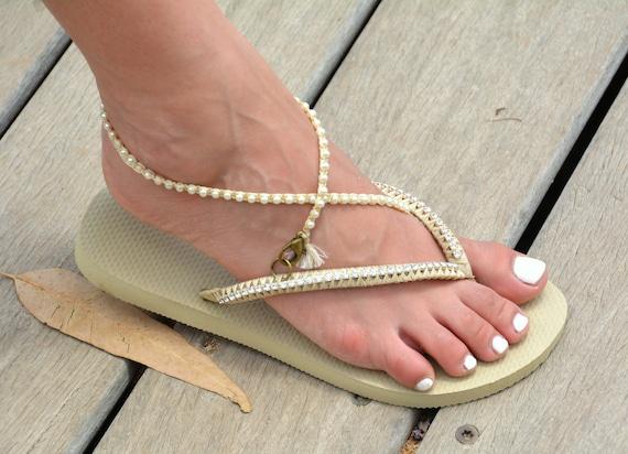 Flops Flip Flip Wedding Flops Dress Bridesmaid Beaded Sandals Flops Flip Boho Flop Wedding Flip Sandals Flops Diamond Flip Bridal Pearl xq4ItI