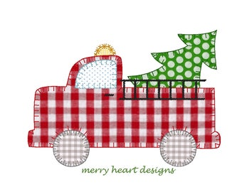 Fire Truck with Christmas Tree Applique Design, FireTruck applique', Vintage stitch Fire Truck, Embroidery file, Embroidery, Blanket stitch