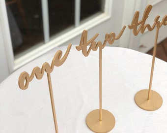 Set of 14 - Wedding Table Numbers - Set of 1-14 - Gold Script Table Numbers - Self Standing Wedding Table - Garden Line