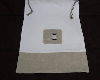 All GM linen embroidered thread reel - unique design bag
