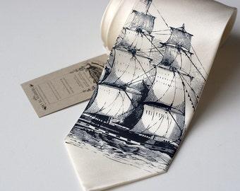 Clipper Ship silk necktie, navy ink on ivory tie.  Silkscreen nautical print boat tie.