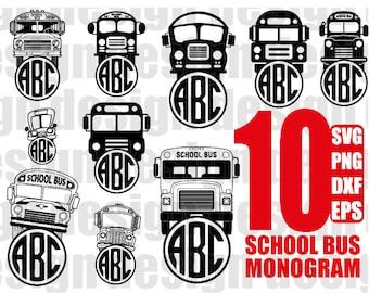 SCHOOL BUS MONOGRAM svg, bus monogram svg, back to school svg, school bus svg, cricut clipart, stencil, vinyl cut files, iron on files