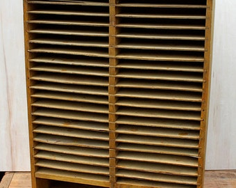 Antique Mail Sorter Or WD Or CD Holder. Wooden Wall Hanging Cabinet With 42  Compartments
