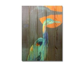 28x36 Great Blue Heron on Solid Cedar Wood, Indoor Outdoor Safe Art, Home Decor, Wall Hanging. (DCGB2836)