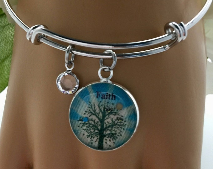 Mustard seed bangle bracelet, John 3:16, Swarovski Crystal Bracelet, Silver and  Light Turquoise Faith Bracelet, non-tarnish rhodium plate