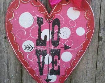Valentine heart door hanger..door hanger...heart door hanger. & Valentine door decor | Etsy
