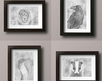 Wizard Mascot - Lion Print - Raven Print - Snake Print - Badger Print - Print Set - Geek Art - Geek Decor - Wizard Decor - Wizard Prints