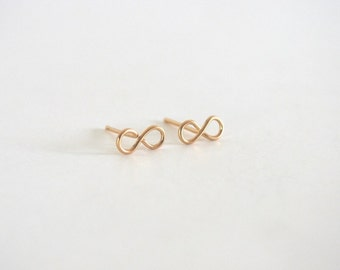 Tiny Infinity Stud Earrings, Gold Filled or Sterling Silver