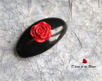 Large hair clip Barrette 6 drowning and a red rose