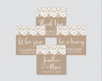 Printable OR Printed Wedding Stickers - Burlap and Lace Square Wedding Labels, Personalized Wedding Favor Tags, Thank You Stickers 0002
