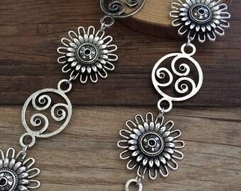 1m antique Silver  Chain flower chain