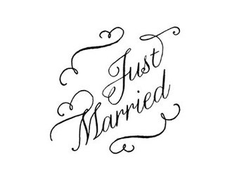 CLEARANCE Just Married stamp - hand lettered calligraphy wedding rubber stamp