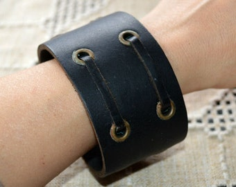 Natural Leather Bracelet Wide Black Weathered Double Laced Wristband