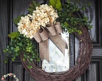 Cream Hydrangeas Grapevine Wreath-Classic Hydrangea Wreath, Front door wreath, Wedding Decor, Mother's Day Housewarming