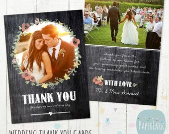 Wedding Thank You Card - Photoshop template - AW006 - INSTANT DOWNLOAD