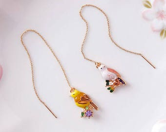Genuine Gold Plated  Detailed Colourful Crystal Bird Pendent Drop Earrings