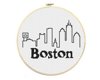 PDF - Boston City Skyline Cross Stitch Pattern