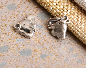 Sterling Silver Elephant Charm 925 Silver Elephant Lucky Trunk Up Baby Elephant Good Luck Elephant Bracelet Charm Jewelry,  BS17-0126J