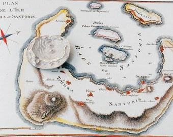 Sterling Silver Map Pendant Unisex Necklace, Santorini Antique Greek Map, Men/Woman Art Pendant, 19th Century Santorini Island Map
