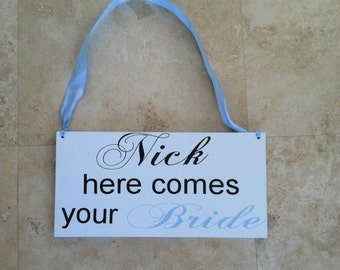 Uncle Here Comes Your Bride Sign Here Comes The Bride Sign Wedding Signs Here Comes Your Bride Sign Ring Bearer Flower Girl Sign