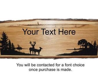 Deer Decor, Lake Sign, Rustic Deer Sign, Personalized Sign, Live Edge Oak Sign, Rustic Wood Sign, Wood Sign, Rustic Sign,  Engraved Sign