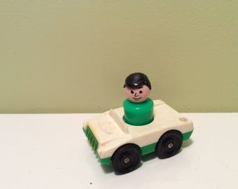 Vintage Fisher Price White Top Green Bottom Single Rider Car Vehicle with Gas Nozzle Black Wheels