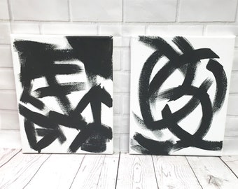 Original Contemporary Abstract Wall Art + Custom Painting + Black and White Paintings