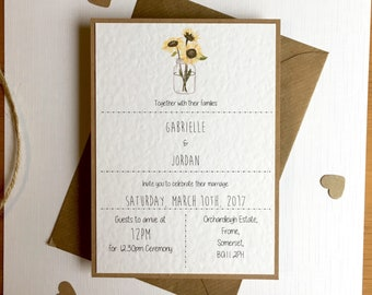 Sunflowers // Wedding Invites and Bundles // Vintage // Rustic // Country // Yellow Floral