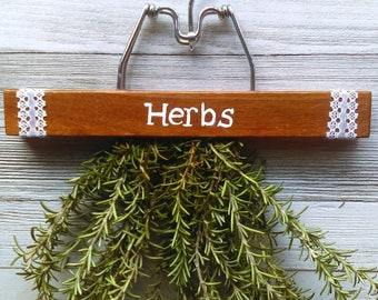 Repurposed Hanging Herb Drying Rack/ Dark Wood with White Letters/ Featured in Somerset Home Magazine