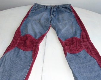 Vintage 90s Corduroy jeans Burgundy jeans Burgundy pants Ribbed jeans Patchwork jeans Loose fit jeans Jeans with buttons Combined jeans