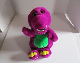 Barney Plush, Barney Stuffed Animal, Vintage Barney, 1992 Barney, Purple and Green Dinosaur Plush, Dinosaur Stuffed Animal, Barney Vintage