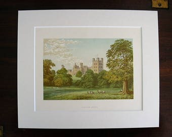 Antique Woodblock Color Print British Stately Home Penrhyn Castle Wales C.1870 Wood Engraving Chromoxylograph Matted Mounted Ivory Board